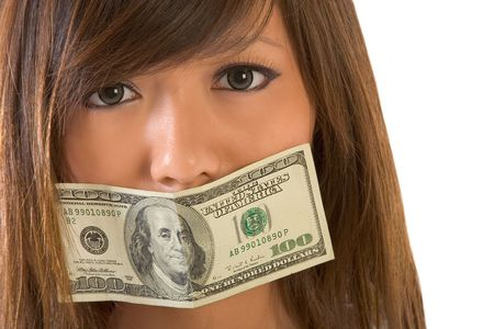 mouth closed: Asian girl with mouth gaged by 100 dollar bill