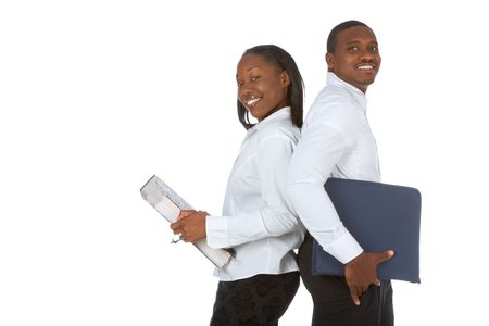 Two African-American office workers with folders photo