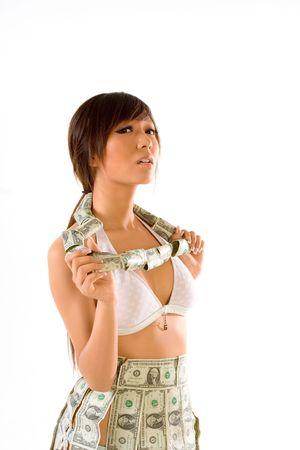 Japanese teenaged female clothed in US money photo