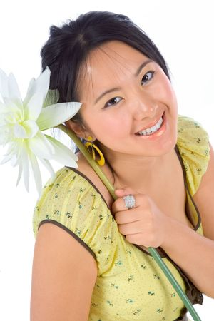 Portrait of Chinese female with flower photo