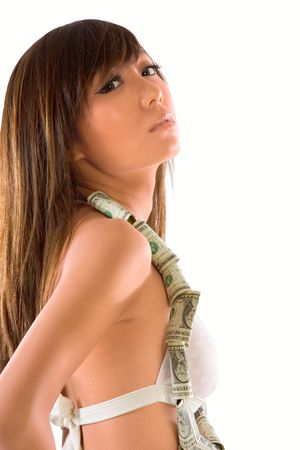 Young Japanese female with money necklace around her neck photo