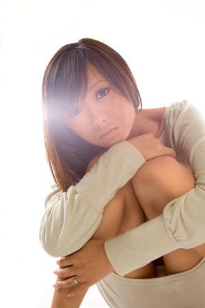 Portrait of Japanese girl through the glare Stock Photo