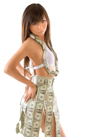 young teen girl nude: Young Japanese woman clothed in money outfit