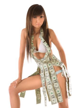 Attractive Japanese girl clothed in money outfit photo