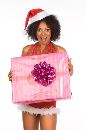 Sexy female in Christmas outfit holding big Christmas gift box photo