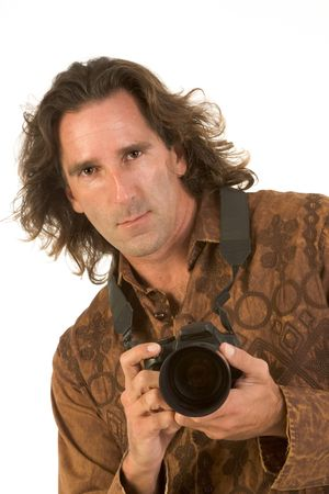 Man with long hair holding DSLR photo camera Stock Photo - 2349371