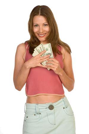 scandinavian descent: Middle-aged female holding pile of 100 dollar bills