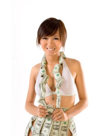 Asian teenager wearing necklace and skirt made of money photo