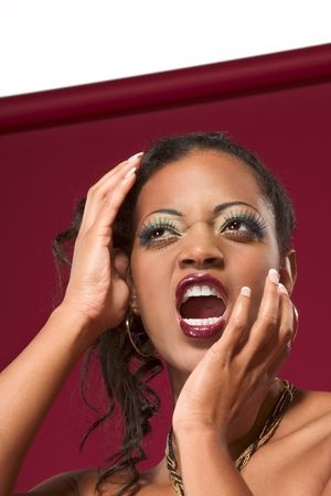 Emotional, screaming young beautiful sexy woman Stock Photo - 2425273