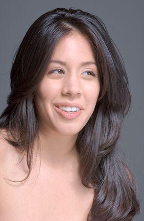 Portrait of a beautiful Hispanic girl with long hair