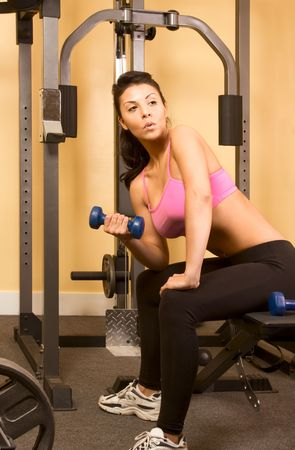 Woman work-out with small dumbbell in fitness club Stock Photo - 3068344