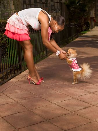 Attractive African-American young woman dancing with smiling small Pomeranian Spitz dog, that walks on rear legs, pink, skirt photo