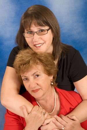 happy family portrait of young woman hugging her mother  Stock Photo - 3308335