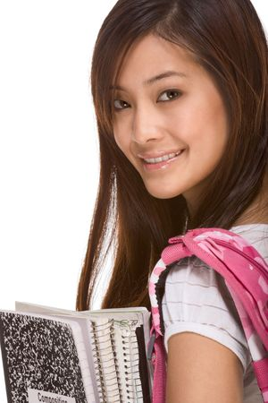Portrait of friendly Asian High school girl student with backpack, holding notebooks and composition book photo