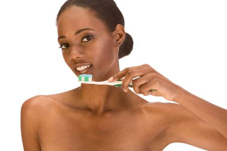 slicked back hair: Beautiful young shirtless African-American woman with Slicked Back Hair with toothbrush and blue toothpaste