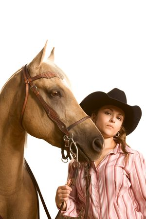 quarter horse: Portrait of ranch girl with her friendly horse