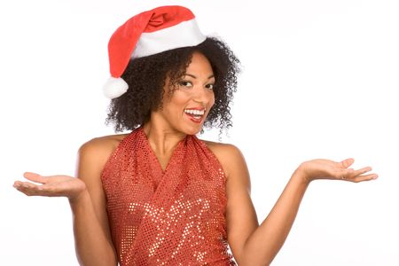 Dark skinned middle aged woman in sexy Christmas outfit photo