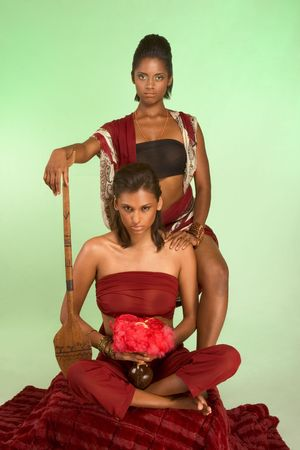 Dark skinned indigenous female sitting, holding vessel for dry blood with pink feathers and guarded by woman body guard who stands reclining on wooden spear