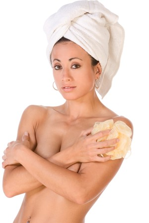 towel wrapped: Young woman of mixed race (Japanese and Caucasian) with bath towel wrapped around her head with sponge in her hands, covers her boobs Stock Photo