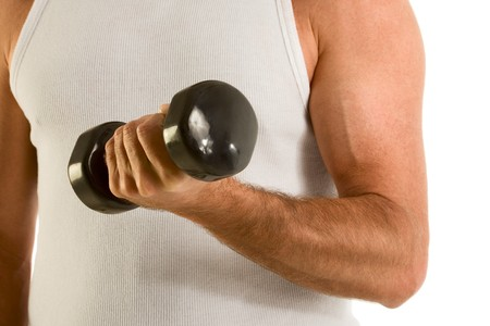 medium size: Close up biceps of unrecognizable Caucasian male wearing white casual tank top and working out with black medium size dumbbell