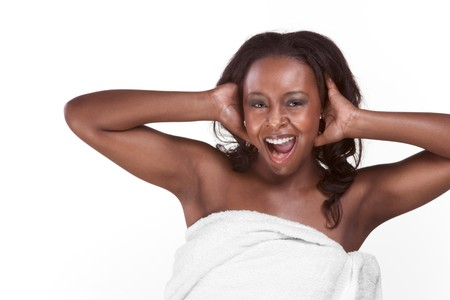 Young sexy emotional gorgeous black African American female in wrapped in bathtowel and screaming Stock Photo - 4443928