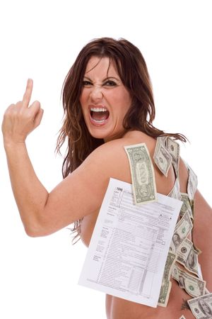 Mature naked frustrated woman with income tax form and US money stuck to her body making obscene signs and screaming expressing her frustration by excessive taxation and complexity of tax code, arguing in defense of taxes on prostitution. Stock Photo