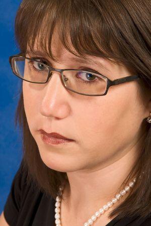 Portrait of attractive brunet in stylish glasses photo