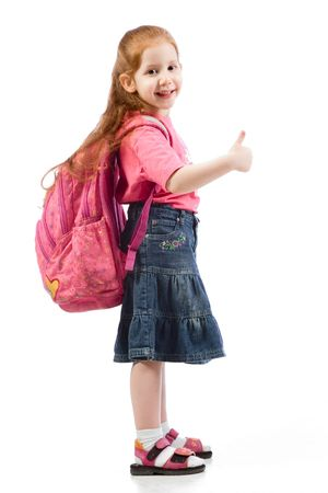 red head: Red head kid student with long hair standing with school backpack on her shoulders  Stock Photo