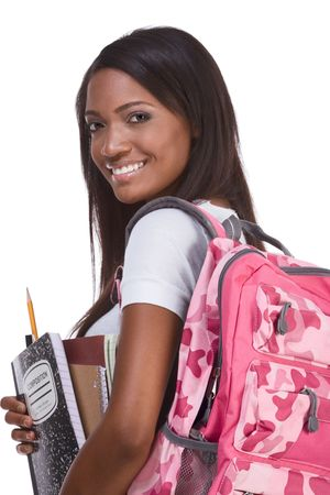 brunnet: education series - Friendly ethnic black female with high school student with backpack and composition book Stock Photo