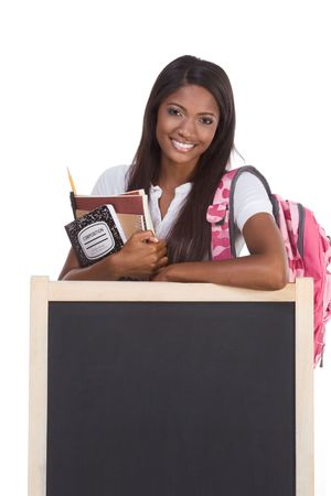 education series template - Friendly ethnic black woman high school student by chalkboard