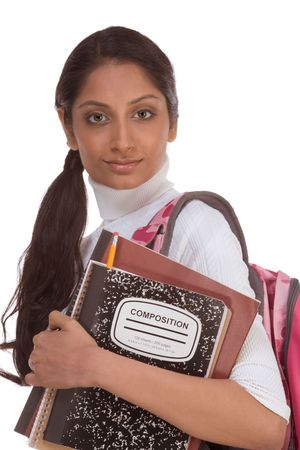 education series - Friendly ethnic Indian female high school student with backpack and composition book Stock Photo