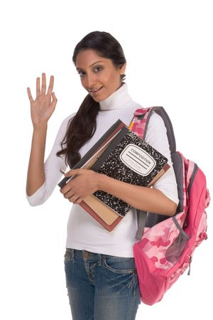 brunnet: education series - Friendly ethnic Indian female high school student with backpack and composition book welcoming and gesturing, greeting