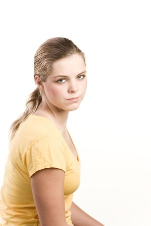 teenaged: Friendly teenager blond in t-shirt Stock Photo