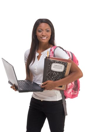 education series template - Friendly ethnic black woman high school student with portable computer Banque d'images