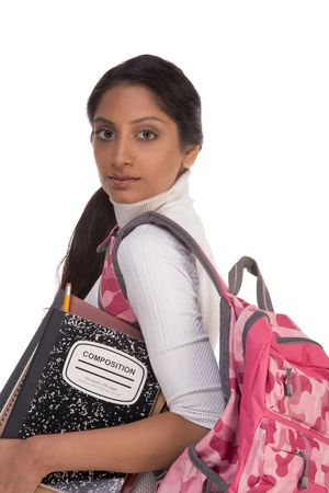 brunnett: education series - Friendly ethnic Indian female high school student with backpack and composition book Stock Photo