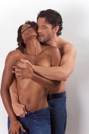 african american nude: Loving affectionate nude interracial heterosexual couple in affectionate sensual kiss. Mid adult Caucasian men in late 30s and young mulatto biracial female mix of black African American, Native American and German ethnicity in 20s Stock Photo