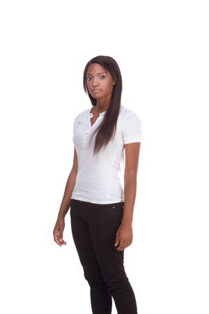 brunnet: Friendly africanos mujer americana con el pelo largo