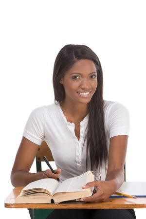 english ethnicity: English spelling-bee contest education series - ethnic black female high school student studying dictionary preparing for test, exam or spelling bee contest Stock Photo