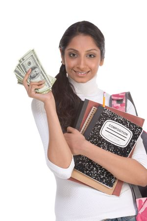 us money: Ethnic Indian college student with compositions notebook, copybooks and backpack holds pile 100 (one hundred) dollar bills happy getting money help to subsidies costly university cost Stock Photo