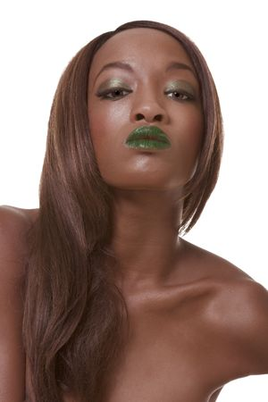 wig: young African-American female model with green lips wearing wig