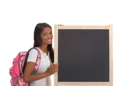 education series template - Friendly ethnic black woman high school student by chalkboard Stock Photo - 5941271