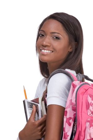 16 19 years: education series - Friendly ethnic black female high school student with backpack and composition book