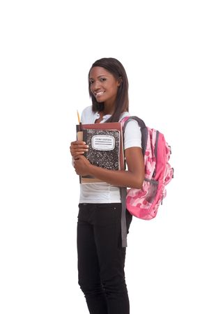 16 19 years: ducation series - Friendly ethnic black female high school student with backpack and composition book Stock Photo