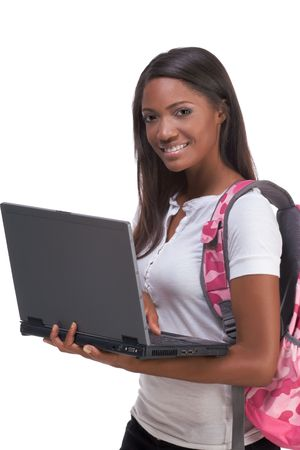 education series template - Friendly ethnic black woman high school student typing on portable computer Banque d'images