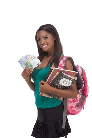 education financial aid Ethnic black African-American college student holds pile 100 (one hundred), 50 (fifty) and 20 (twenty) euro bills banknotes happy for money help to subsidize costly university cost