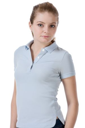 slicked back hair: Caucasian teenaged female student wearing uniform like outfit Stock Photo