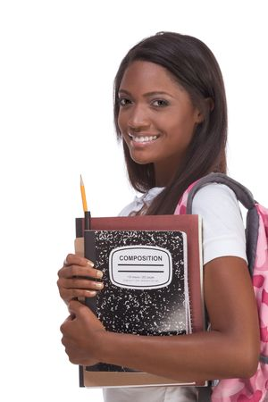 brunnett: education series - Friendly ethnic black female high school student with backpack and composition book