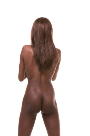 Nude young art model African-American female exotic dancer stripper with long legs (back view) Stock Photo - 6388158