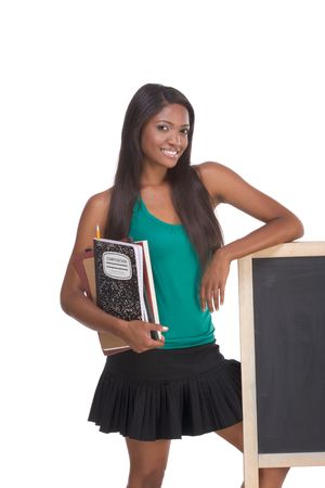 16 19 years: education series template - Friendly ethnic black woman high school student by chalkboard
