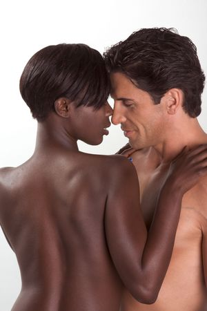 african american nude: Loving affectionate nude heterosexual couple in sensual hug. Mid adult Caucasian men in late 30s and young black African-American woman in 20s